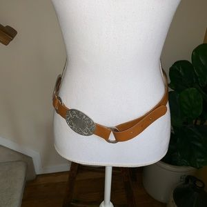 Chico's buckle tan silver adjustable belt size S